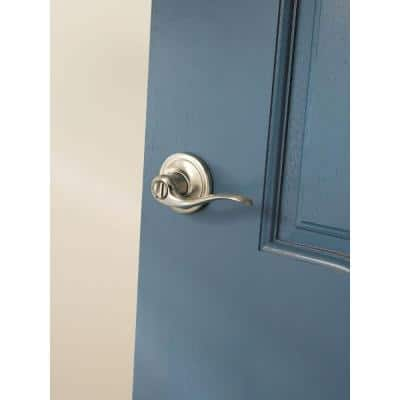 Tustin Satin Nickel Privacy Bed/Bath Door Lever Featuring Microban Antimicrobial Technology