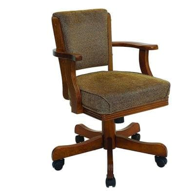 Cozy Brown Upholstered Arm Game Chair