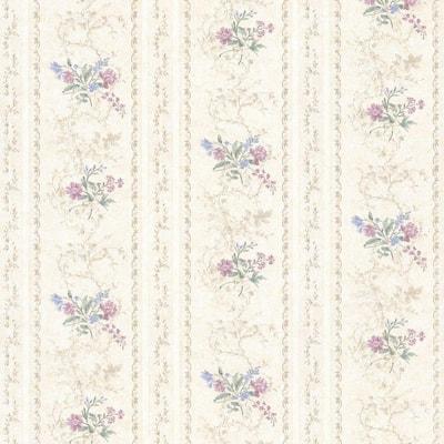 Maury Purple Floral Bouquet Stripe Purple Wallpaper Sample