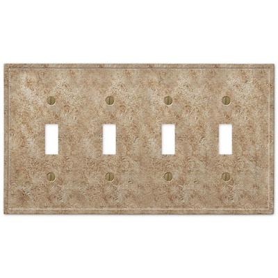 Talia 4 Gang Toggle Resin Wall Plate - Noce