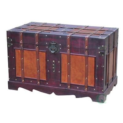 Large Antique Cherry Style Steamer Trunk Decorative Storage Box