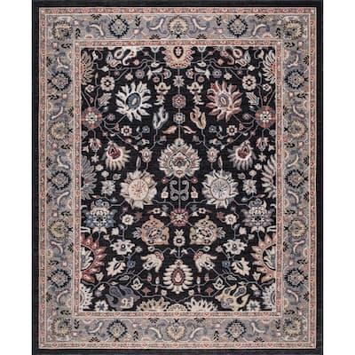 Gramercy Black 6 ft. x 8 ft. Floral Area Rug