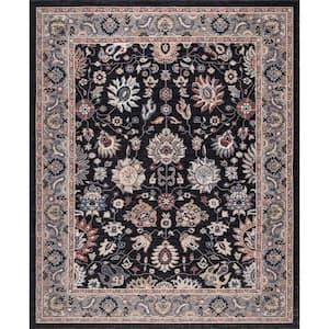 Gramercy Black 8 ft. x 10 ft. Floral Area Rug