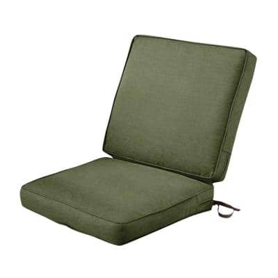 Montlake FadeSafe 20 in. W x 24 in. H Outdoor Dining Chair Cushion with Back in Heather Fern