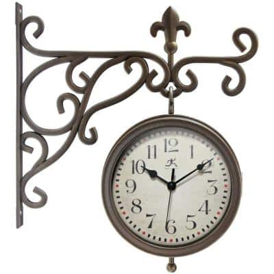 Beauregard Weathered Bronze Wall Clock with Thermometer