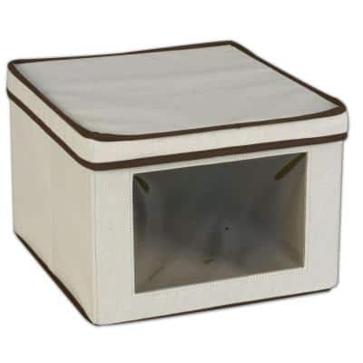 13 in. D x 9 in. H x 12 in. W Natural with Brown Trim Canvas Cube Storage Bin
