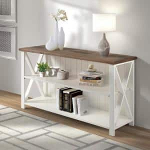 30 in. White/Reclaimed Barn Wood 2-shelf Accent Bookcase