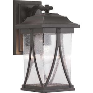 Abbott Collection 1-Light Antique Bronze Clear Seeded Glass Craftsman Outdoor Medium Wall Lantern Light