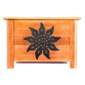 24 in. x 24 in. Redwood Planter with Metal Sunflower Art