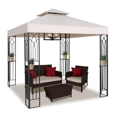 8 ft. x 8 ft. Beige Soft Top Steel Outdoor Patio Gazebo with Shelves