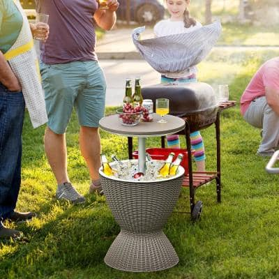 8-Gal Patio Ice Cooler Bucket Cool Bar Side Table w/Retractable Tabletop Brown