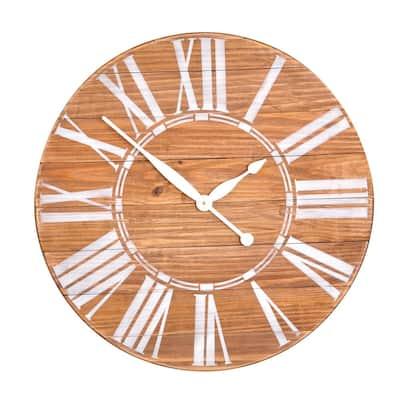 Oversized Brown Farmhouse Wall Clock