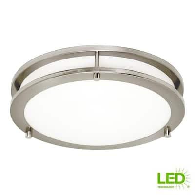 Mahone 14.5 in. 23-Watt Brushed Nickel Medium Integrated LED Flush Mount