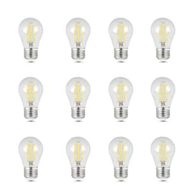 40W Equivalent A15 Dimmable Filament CEC Title 20 90+ CRI Clear Glass LED Ceiling Fan Light Bulb, Daylight (12-Pack)