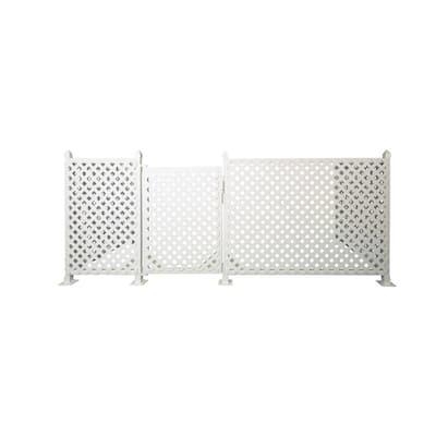 3 ft. x 72 ft. White Plastic Lattice Fence Panel/Enclosure Kit with Gate Insert- Hard Surface