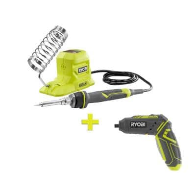 4-Volt QuickTurn Lithium-Ion Cordless 1/4 in. Hex Screwdriver Kit with 18-Volt ONE+ 40-Watt Soldering Iron