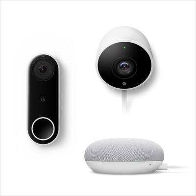 Nest Hello Video Doorbell Plus Nest Cam Outdoor Plus Nest Mini (2nd Gen) Smart Speaker Chalk