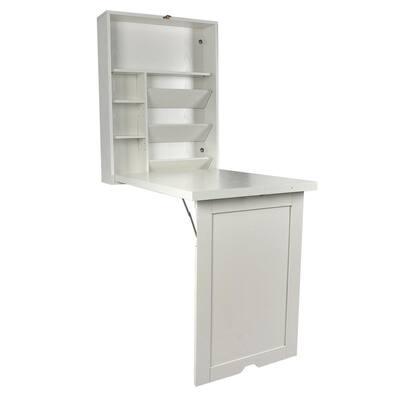 24 in. White Retangular Wood Computer Desk with 2 Adjustable Shelves