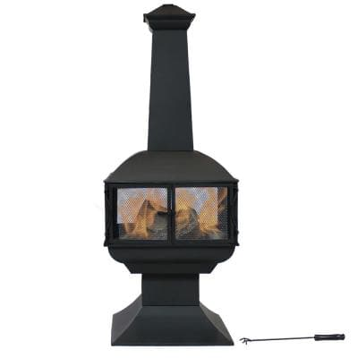 57 in. Black Steel Outdoor Wood Burning Fire Pit Chiminea with Log Grate and Poker 360-Degree View