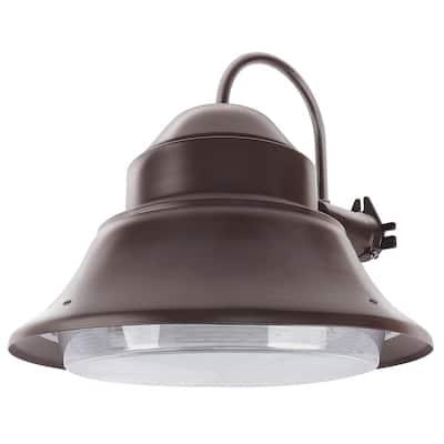 50-Watt Bronze Outdoor Security Wall Mount Post Dusk to Dawn Photocell Sensor Integrated LED Area Light