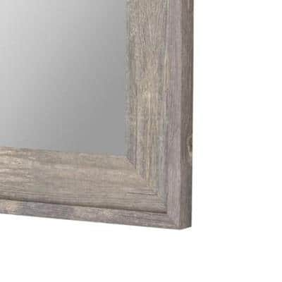 Farmstead 54.75 in. x 36.75 in. Rustic Rectangle Framed Gray Decorative Mirror