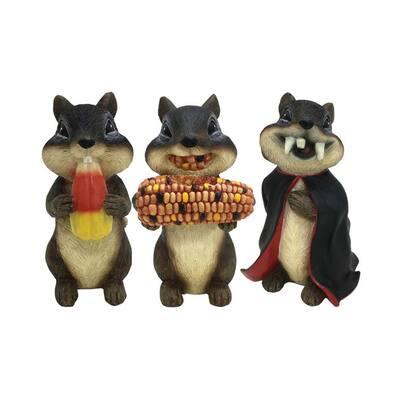 6 in. Fall Chipmunks Resin Garden Statues (3-Pack)