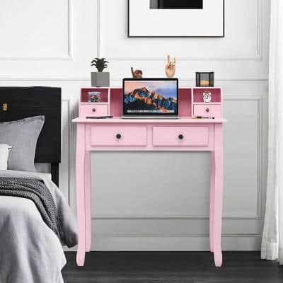 31.5 in. Pink Rectangle Wood 4-Drawer Writing Desk