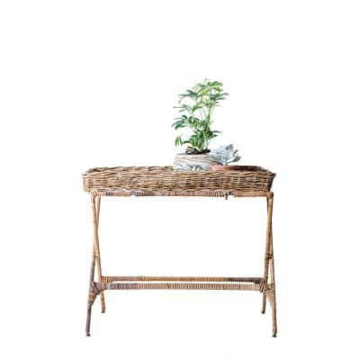 39 in. x 12 in. Woven Roots Brown Arurog Tray with Folding Metal Stand