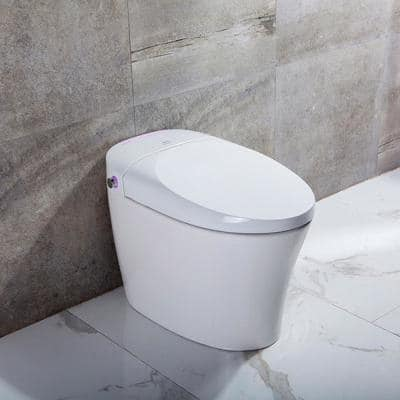 Rosemary 1-Piece 0.8/1.28 GPF Dual Flush Elongated Bidet Toilet in White