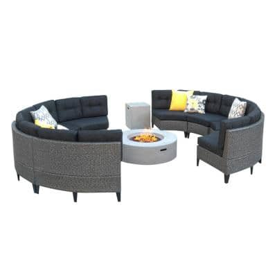 10-Piece Wicker Patio Fire Pit Sectional Seating Set with Dark Gray Cushions