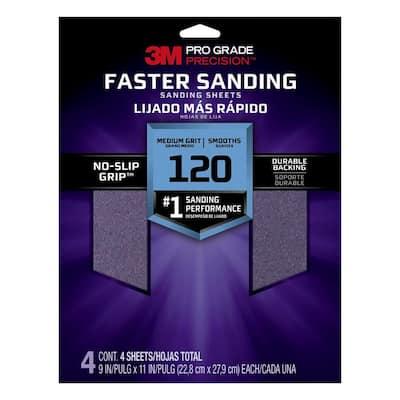 Pro Grade Precision 9 in. x 11 in. 120 Grit Medium Faster Sanding Sanding Sheets (4-Pack)