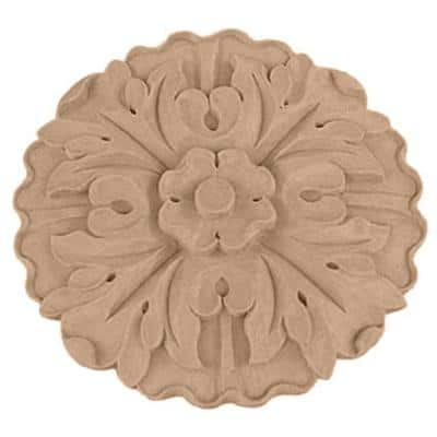 5 in. x 3/4 in. x 5 in. Unfinished Wood Cherry Kent Rosette