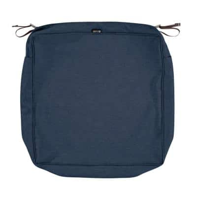 Montlake Fadesafe 25 in. W x 25 in. D x 5 in. H Square Patio Lounge Seat Cushion Slip Cover in Heather Indigo Blue