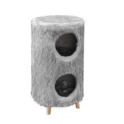 Pufak 27 in. Gray Cat Tree Cylinder