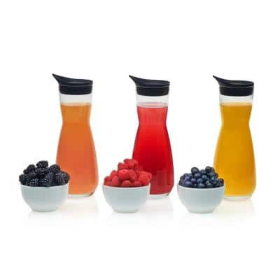 Make Your Own Mimosa Bar 6-piece Carafe and Garnish Bowl Set with Carafe Lids