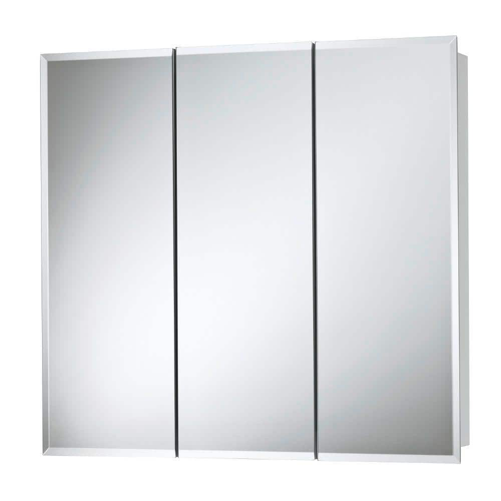 Jensen Horizon 24 In X 24 In X 5 1 4 In Frameless Surface Mount Bathroom Medicine Cabinet With 1 2 In Beveled Mirror 255224x The Home Depot