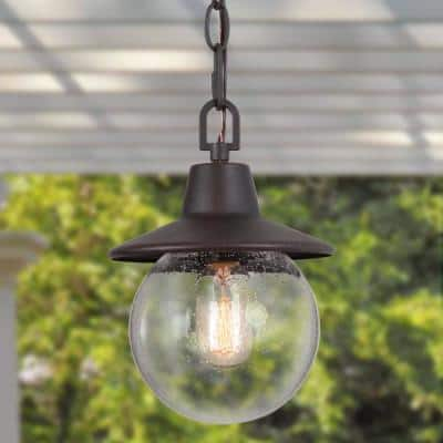 Modern Rusty Bronze Outdoor Pendant Light, Porch 1-Light Rustic Hanging Globe Lantern Light Fixture Clear Seeded Glass