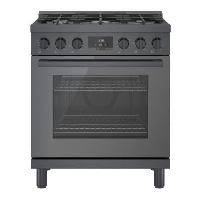 30 in. 3.7 cu. ft. Industrial Style Gas Range with 5-Burners in Black Stainless Steel