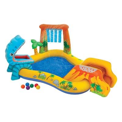 98 in. x 75 in. x 43 in. Rectangular 8 in. D Dinosaur Play Center Kiddie Pool