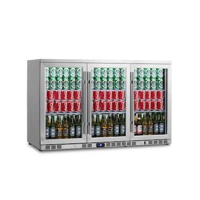 Single Zone 52.6 in. 260 (12 oz.) 3-Door Stainless Steel Beverage Can Cooler
