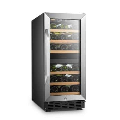 15 in. 28 Bottle Stainless Steel Dual Zone Wine Refrigerator
