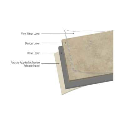 12 in. W x 12 in. L Natural Hickory Low Gloss Peel and Stick Floor Vinyl Tile (45 sq. ft./case)