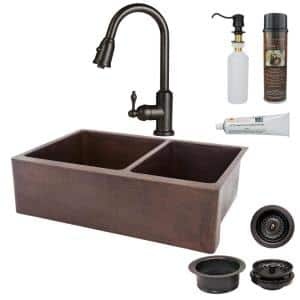 All-in-One Undermount Hammered Copper 33 in. 0-Hole 60/40 Double Bowl Kitchen Sink in Oil Rubbed Bronze