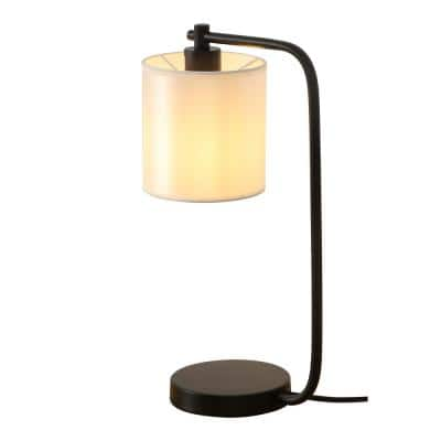 19 in. Black Industrial Iron Metal Desk Lamp with Fabric Shade