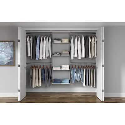 Essential Plus 60 in. W - 96 in. W White Wood Closet System