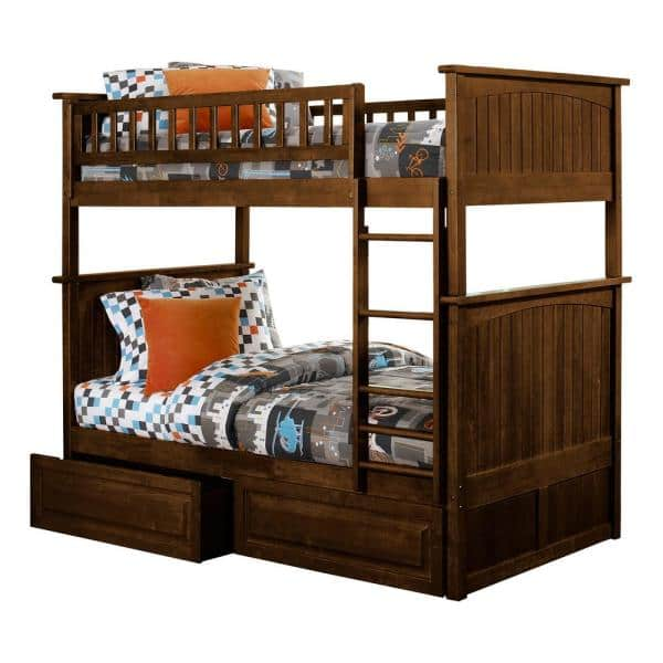 Atlantic Furniture Nantucket Bunk Bed Twin over Twin with 2 Raised Panel Bed Drawers in Walnut   The Home Depot