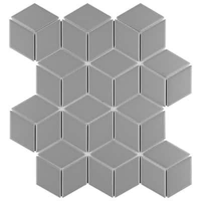 Metro Rhombus Matte Light Grey 10-1/2 in. x 12-1/8 in. Porcelain Mosaic (9.04 sq. ft. /Case)