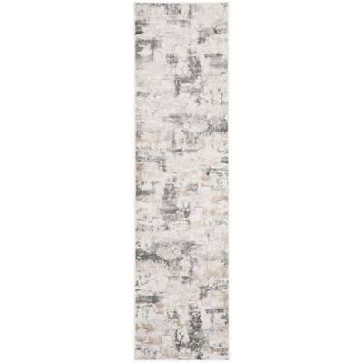 Vogue Beige/Charcoal 2 ft. x 22 ft. Geometric Runner Rug