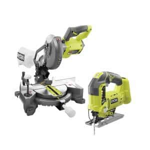 ONE+ 18V Lithium-Ion Cordless 7-1/4 in. Compound Miter Saw and Orbital Jig Saw (Tools Only)