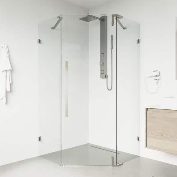 Vigo Ontario 34 In W X 74 H Neo, Corner Shower Glass Doors Home Depot